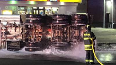 Photos: Tanker truck spills 10,000 gallons of fuel in Revere rollover