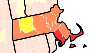 Which Massachusetts counties are 'high-risk' for COVID-19 transmission?