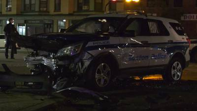 4 people, including police officer, hospitalized after crash in Boston