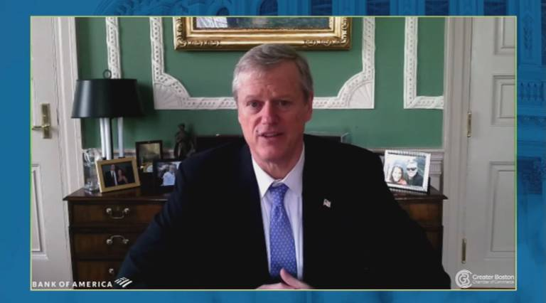 During remarks to the the Greater Boston Chamber of Commerce Thursday morning, Gov. Charlie Baker said the state is waiting on approval from the federal government to send the National Guard to Kentucky and Tennessee, where the vaccine is being manufactured.