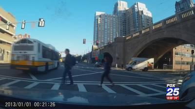 MBTA buses caught on dash cam running red lights
