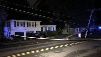 Driver smashes into utility pole in Needham