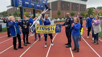 Grafton man completes virtual Boston Marathon while on crutches